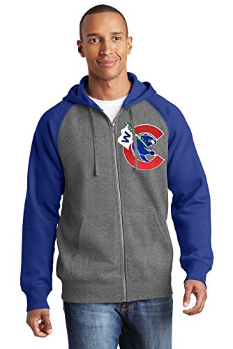 Train Wreck Creations Thats Cub Flying a W Fullzip Hoodie (XL) Grey/Blue