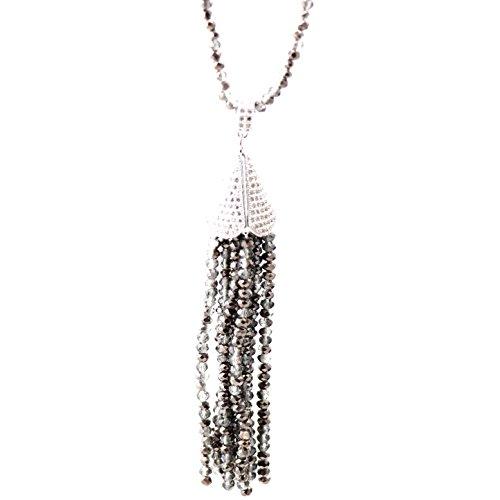 Trend Builder Inc NEW Big Bold Beautiful High End Fashion Tassel Rhinestone Drop Dangle CZ Necklaces & Pendants & Keychains (Sparkly Black) ()