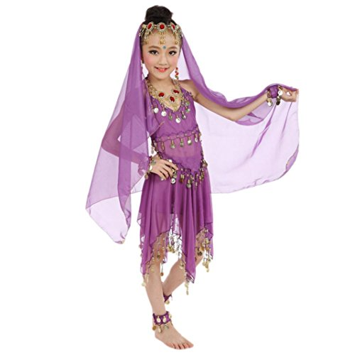 Precious Little Pirate Toddler And Girls Costumes (Elevin(TM)New Children Girl Belly Dance Costumes Indian Dancewear Egypt Highlights Top Skirt Outfit (Purple))