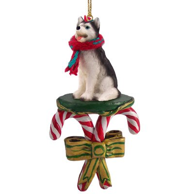 Husky Siberian Figurine Dog - Siberian Husky Black/White Blue Eye Dog Candy Cane Ornament
