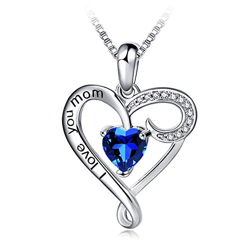 Mother's Birthday Gift I Love You Mom S925 Sterling Silver Heart Pendant Necklace (Dark Blue)