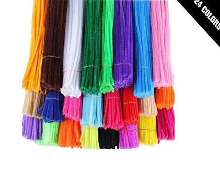 HoneyToys 240pcs 24 Colors Creative Pipe Cleaners Chenille Stem 12 Inches x 6 mm,Pipe Cleaners for Arts and Crafts -