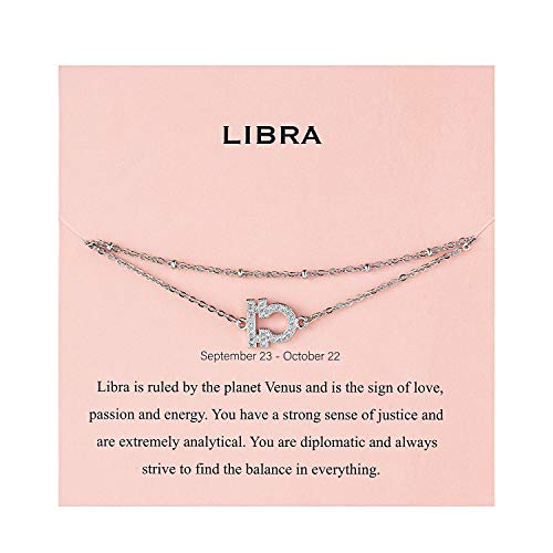 Augonfever Bridesmaids Gifts Anklet Silver Constellation Zodiac Sign Libra Ankle Bracelet for Women