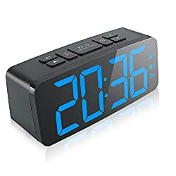 Digital Alarm Clock, New Upgraded 6.3 Large LED Display Digital Alarm Clock with Big Number,6 Level Adjustable Brightness Dimmer and Snooze, Desk Bedroom Bedside Clocks, Simple Operation&12/24Hour