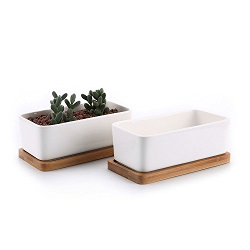 T4U 6.5 Inch Ceramic White Rectangle Sucuulent Plant Pot/Cactus Plant Pot with Free Bamboo Tray Package 1 Pack of 2
