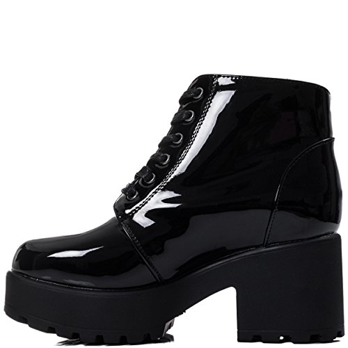up Platform Ankle Black Patent Women's Cleated Pumps Lace Spylovebuy Block Sole Heel Hothead Boots qYwtH7B