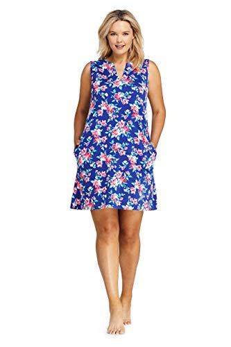 (Lands' End Women's Plus Size Cotton Jersey Sleeveless Tunic Dress Swim Cover-up Print)