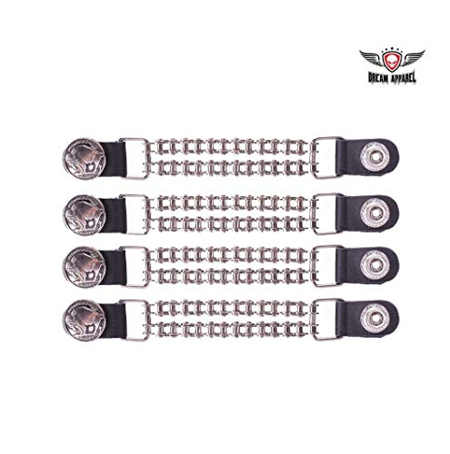 Double Chain Buffalo Nickel Motorcycle Vest Extender Black