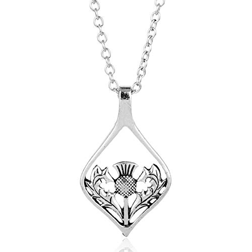 Thistle Jewellery Scottish (Nattaphol Vintage Silver Color Thistle Oval Pendant Scottish Emblem Necklace National Symbol of Jewelry for Men Women Gifts)