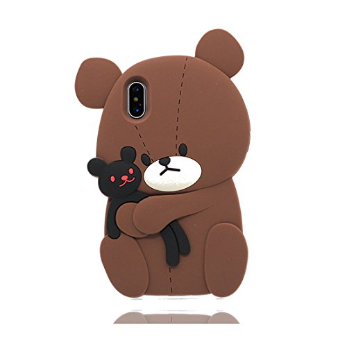iPhone X Copertura,iPhone X Custodia,3D Cartoon orso Pelle morbida in gomma siliconica per la copertura posteriore della copertina Case cover per iPhone X