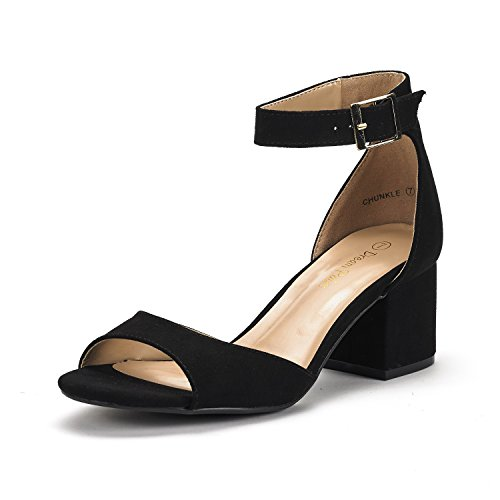 DREAM PAIRS Women's Chunkle Black Suede Low Heel Pump Sandals Ankle Strap Dress Shoes - 10 M US -
