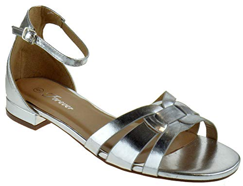 (Forever Encircle 02 Womens Ankle Buckle Open Toe Heeled Sandals Silver PU 8.5)