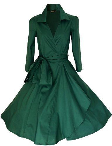 Vintage 40de 50estilo Rockabilly/Swing/Pin Up de algodón Wrap vestido de cóctel Velada Fiesta tamaños 4–�?8* * * UK seller-same día envío para pedidos antes de 3pm * * * Gran gama de colores verde oscuro