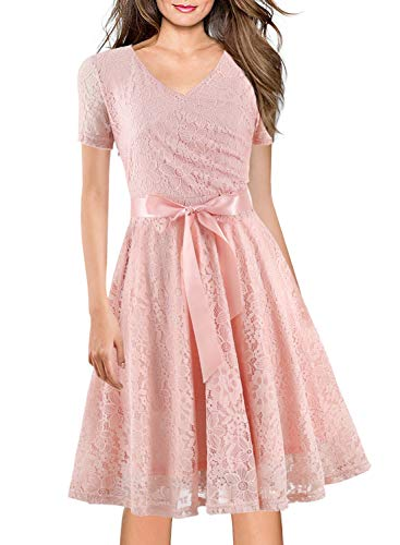 Women's Vintage 1950s 60s Floral Lace Cocktail Party Swing Dress Semi-Formal Homecoming Formal Bridesmaid Dresses 158 (XXL, Pink) -