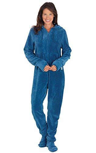 PajamaGram Women's Hoodie-Footie Fleece Onesie Pajamas, Blue, SML (4-6)