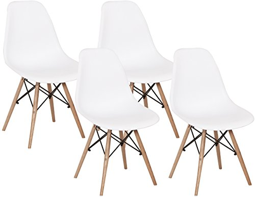 Eames Style Chair Mid Century Modern Molded Shell Chairs Dowel Wood Eiffel Legs Dining Room, Kitchen, Bedroom, Lounge-Easy-Assemble Clean, Set of 4, White