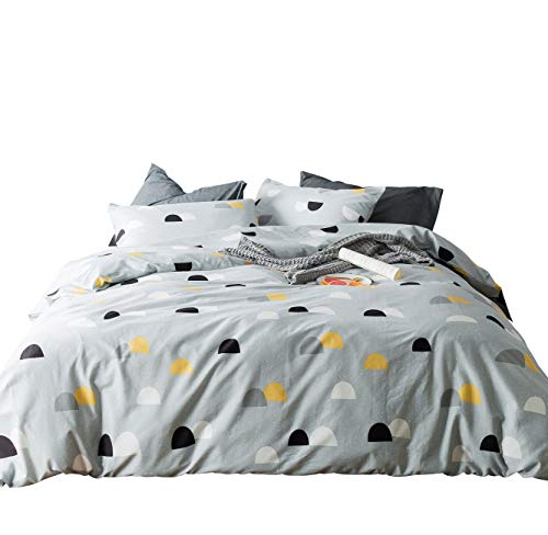 SUSYBAO 3 Pieces Duvet Cover Set 100% Natural Cotton King Size Blcak and Yellow Half Dots Print Bedding with Zipper Ties 1 Duvet Cover 2 Pillowcases Hotel Quality Soft Breathable Durable Comfortable