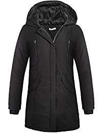 Meaneor Womens Hooded Warm Winter Lined Parkas with Pockets & Zipper Long Coats