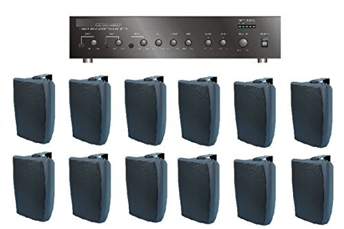 (Large Restaurant/Bar/Retail Store Business Background Music Sound System- Amp, 12 Surface Speakers +)
