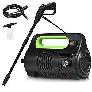 Goplus Portable Pressure Washer High Power Car Cleaning Machine w/Adjustable Nozzle, Spray Gun, Hose Reel, Soap Bottle…