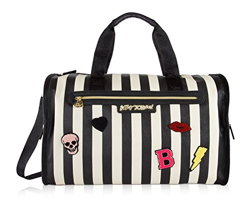 (Betsey Johnson Large Nylon Weekender Duffel Bag, Black/White Checks)
