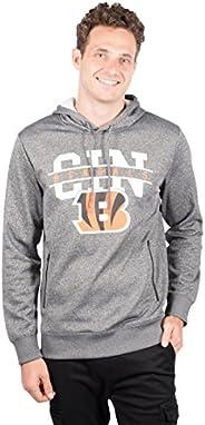 Ultra Game NFL Cincinnati Bengals Mens Fleece Hoodie Pullover Sweatshirt Zipper Pocket, Charcoal Heather, Larg