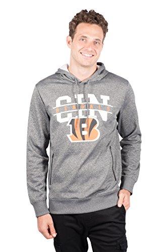 Ultra Game Men's NFL Fleece Hoodie Pullover Sweatshirt Zipper Pocket, Cincinnati Bengals, Charcoal Heather, X-Large