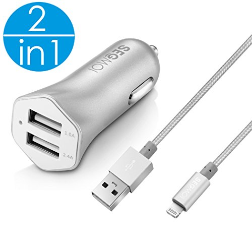2in1 SEGMOI [Apple MFi Certified] 3Ft/1M Lightning Braided Cable + 3.4A Car Charger for iPhone 7 7 Plus 5 5s SE 6 6S 6Plus iPad 2 3 Air Pro (Silver Kit)