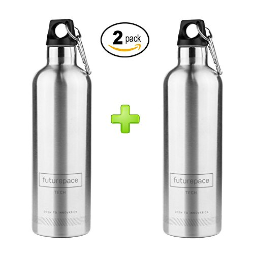 Gym Brushed 2 Pack - Futurepace Tech Best Stainless Steel Double Walled Vacuum Insulated Water Bottle Ð 20 oz / 600 ml - Perfect for Fitness, Sports, Gym, Cycling, Camping, Hiking, Holidays