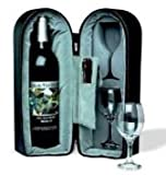 Bottle and 2 Glass Wine Travel Case with Corkscrew and Foil Cutter