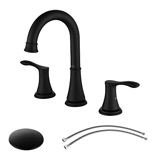 Parlos 2-Handle 8 inch Widespread Bathroom Faucet with Valve and Pop Up Drain Assembly and cUPC Faucet Supply Hoses, Matte Black, Demeter 13653