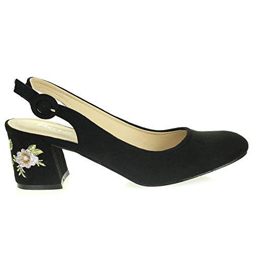 Frau Damen Beiläufig Komfort Jeden Tag Mittlerer Blockabsatz Slingback Sandalen Schuhe Größe Schwarz