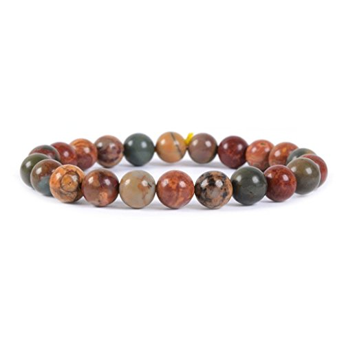 Natural Multi-color Picasso Jasper Gemstone 8mm Round Beads Stretch Bracelet 7