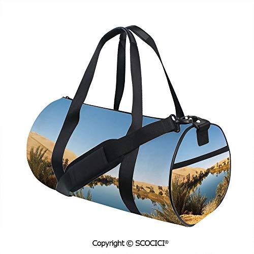 Sahara Wicker - Canvas cylinder sports bag,Idyllic Oasis Awbari Sand Sea Sahara Libya Pond Lush Arid CountryBarrel Bag for Women and Men,(17.6 x 9 x 9 in) Light Blue Green Sand Brown