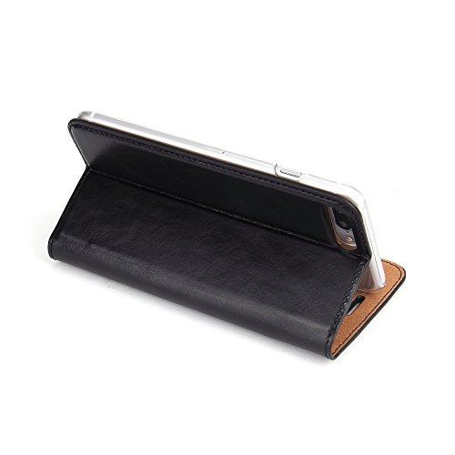 Wormcase Handytasche iPhone 7 Plus Hülle - ECHTLEDER - HANDGEFERTIGT - KARTENFACH - MAGNETVERSCHLUSS - Farbe Schwarz - Zubehör Case Tasche Etui IPhone Flip Case Schutzhulle - Echtledertasche