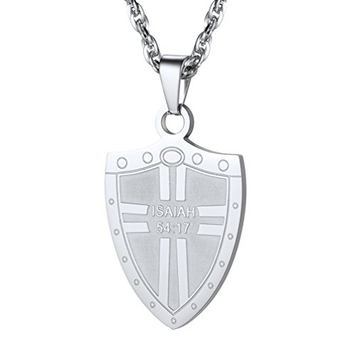 PROSTEEL Shield Armor Necklace,Scripture Jewelry,Isaiah 54:17,Christian Jewelry,Religious Pendant,Cross Necklace, 316L Stainless Steel,PSP2885G