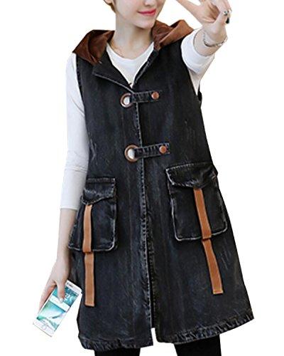既婚同化するに関してSANKU レディース デニムベスト 袖なし ボタン フード付き ゆったり ロング丈 ポケット 韓国風 gジャン ジージャン ジーンズ 春 エレガンス デニム ジャケット コート カジュアル 大きいサイズ