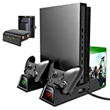 OIVO Vertical Cooling Stand Compatible with Xbox ONE X/ ONE S/ Regular ONE, Cooler Cooling Fan with 2PACK 600mAh Batteries,Games Storage, Dual Controller Charging Docking Station for Xbox ONE/S / X