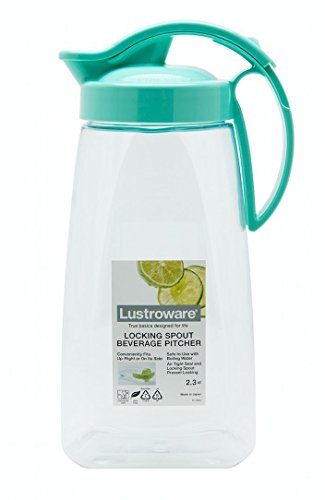 Locking Spout Beverage Pitcher, 2.3qt, BPA Free, Made in Japan (MInt Blue), For water, coffee, tea, juice, and other beverages.