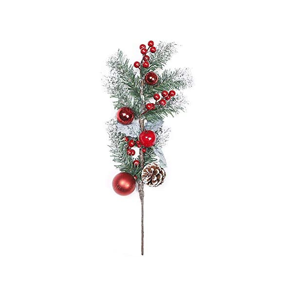 QCUTEP 6PCS Artificial Pine Picks, Red Berry Stems Pinecone with Snow Flocked Christmas Flower Arrangements Wreaths Decoration for Christmas Tree Holiday Home Winter Decor
