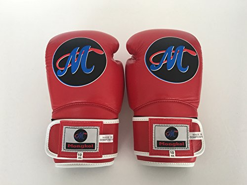 Mongkol Muaythai - Gloves Red/White Trim White Velcro by Mongkol Muaythai
