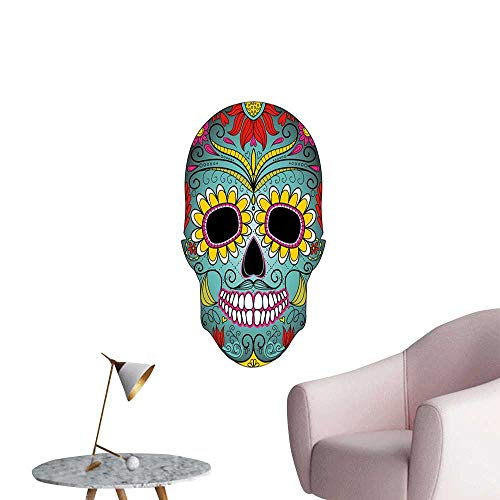 (Jaydevn Sugar Skull Decor Art Decor 3D Wall Mural Wallpaper Stickers Folk Art Elements Featured Skull Day of The Dead Celebration Concept Stickers for Wall Home Multicolor W16 x H20)