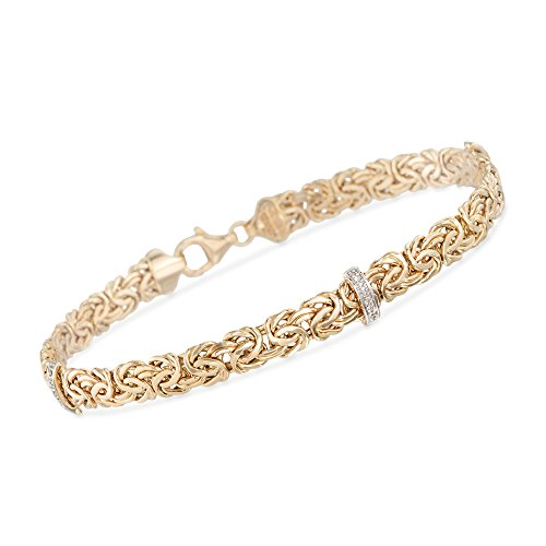 Ross-Simons 14kt Yellow Gold Byzantine Bracelet With Diamond-Accented Stations