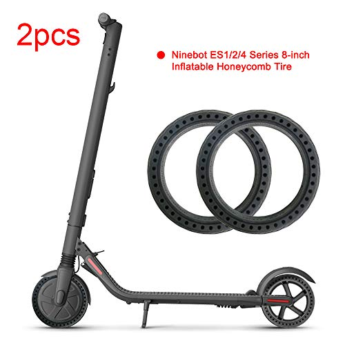 Konesky Scooter Tires, 8 Inch Front Rear Solid Tire for Xiaomi/Ninebot ES1  ES2 ES3 ES4 Electric Scooter Honeycomb Tire Wheel's Replacement + 1