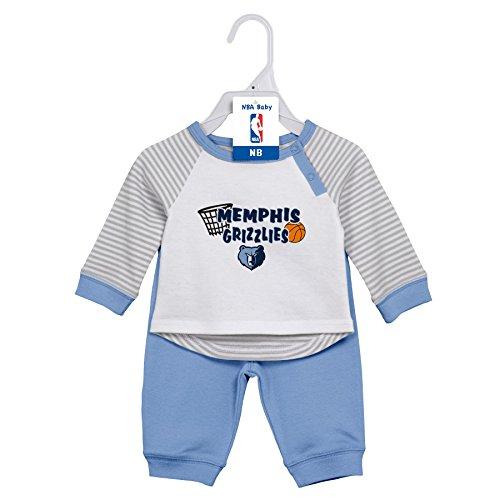 Outerstuff NBA Newborn Scrimage 2 Piece Tee and Pant Set Memphis Grizzlies-White-3-6 ()