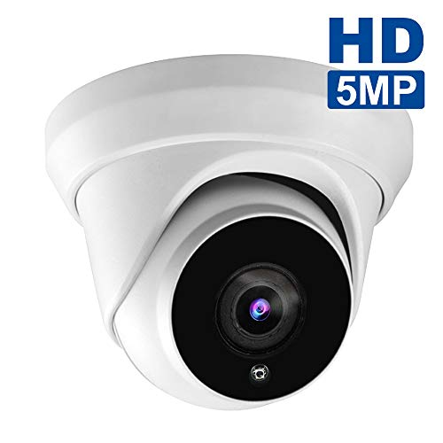 5MP HD IP POE Security Camera, Outdoor Dome Onvif Supports Camera,2592x 1944P Super HD Vandalproof Camera, 100ft IR, 108° Viewing Angle, H.265 IP66 Waterproof, Remote Access, Motion Alert (White-1)