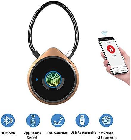 CX ECO Fingerabdrucksperre Keyless-Vorhängeschloss mit Smartphone-APP Bluetooth Entriegeln Sie die USB-Diebstahlsicherung mit 10 Fingerabdrucksätzen