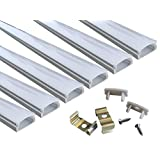 Muzata 6-Pack 3.3ft/1Meter 9x17mm U Shape LED Aluminum Channel System With Cover, End Caps and Mounting Clips Aluminum Profile for LED Strip Light Installations, Led Lights Diffuser Segments