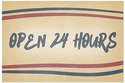Open 24 Hours CGSignLab Nostalgia Stripes Window Cling 36x24