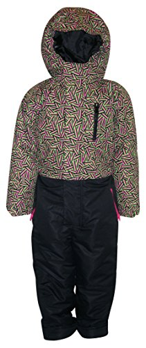 Pulse Little Girls' 1 Piece Snowsuit Coveralls Zig Zag (Small (4/5), Lime/Pink/Black) - One Piece Insulated Ski Suit